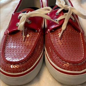 Slightly worn red sequins speedy shoes